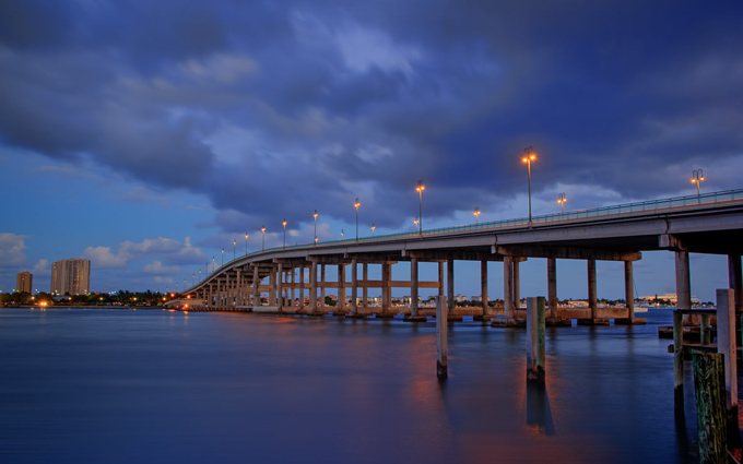 Blue Heron Bridge from Palm Beach County Florida in Singer Island. HDR image process in Photomatix Pro.